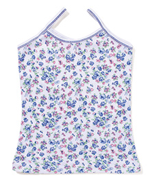 Cucumber Floral Printed Singlet Slips - White & Blue