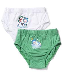 Cucumber Set Of 2 Briefs With Doraemon Print - White