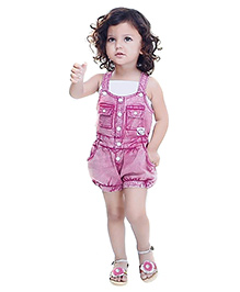 N-XT Dungaree With Singlet Top - Pink & White