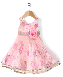 Babyhug Sleeveless Party Frock Flower Applique - Peach