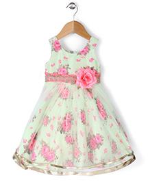 Babyhug Sleeveless Party Frock Flower Applique - Light Green