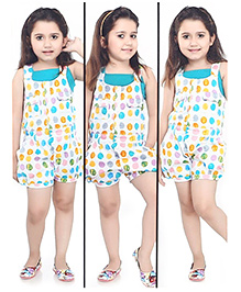 N-XT Polka Dotted Dungaree With Singlet Top - White & Green