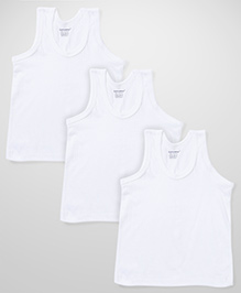 Cucumber Sleeveless Vest  White - Set Of 3