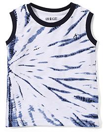 Gini & Jony Printed Sleeveless T-Shirt - White & Navy