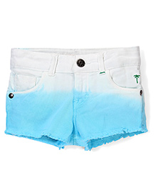 Palm Tree Dual Shade Shorts With Ombre Effect - Sky Blue & Off White