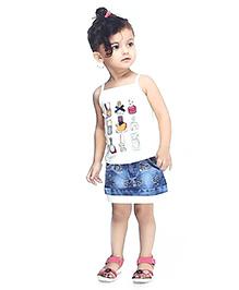 N - XT Multi Printed Singlet Top & Denim Skirt Set - White & Blue