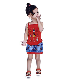 N - XT Multi Printed Singlet Top & Denim Skirt Set - Red & Blue