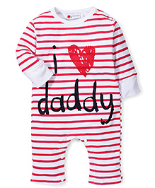 Adores Striped Romper With I Love My Daddy Print - Red