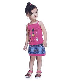 N - XT Multi Printed Singlet Top & Denim Skirt Set - Dark Pink & Blue