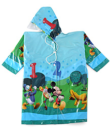 Mickey Printed Full Sleeves Hooded Raincoat - Blue
