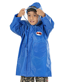 Babyhug Raincoat Square Print With Car Patch - Royal Blue