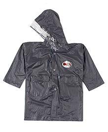 Babyhug Full Sleeves Raincoat Motorcycle Patch - Grey