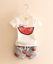 Mauve Collection Cute 2 Piece Watermelon Print Set - White & Grey