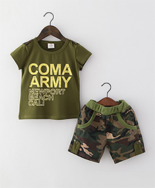 Mauve Collection Boys Special Print Tees & Shorts Set - Olive Green & Camouflage