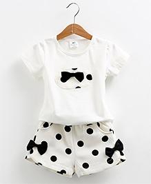 Mauve Collection Cute 2 Piece Shorts & Top Set - White & Black