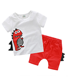 Mauve Collection Cute Dino Print Set For Kids - Red