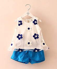 Mauve Collection Organza Embroidered Top & Shorts Set  - Blue