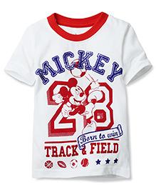 Disney by Babyhug Half Sleeves T-Shirt Mickey Print - White