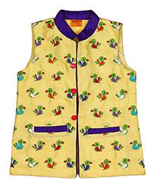 Raghav Mithoo Embroidered Quirky Ethnic Koti - Lemon Yellow