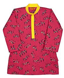 Raghav Colourful Zebra Printed Cotton Kurta - Pink