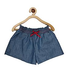 My Lil Berry Smocking Elasticated Denim Shorts - Blue