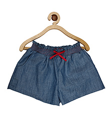 My Lil Berry Smocking Elasticated Denim Shorts - Blue