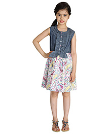 My Lil Berry Sleeveless Ruffle Tie Up Dress - Blue And White