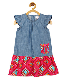 My Lil Berry Flutter Sleeves Denim Dress - Blue And Fuchsia