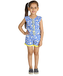My Lil Berry Sleeveless Floral Print Jumpsuit - Blue