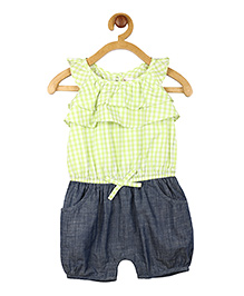 My Lil Berry Sleeveless Check Ruffles Romper - Green And Blue