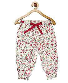 My Lil Berry Full Length Floral Print Bottom - White And Maroon