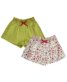 My Lil Berry Elasticated Cotton Shorts Lime Green Maroon White - Pack Of 2