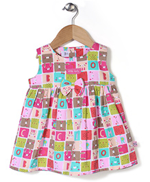 ToffyHouse Sleeveless Little Lady Print Dress With Bow - Multicolor