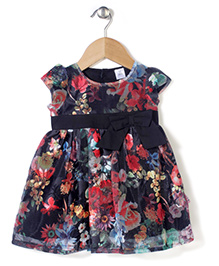 ToffyHouse Cap Sleeves Floral Print Frock With Bow Applique - Black