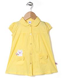 ToffyHouse Cap Sleeves Frock Cat Print - Lemon Yellow
