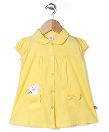 ToffyHouse Cap Sleeves Frock Cat Print - Lemon Yellow