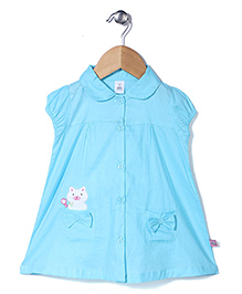 ToffyHouse Cap Sleeves Frock Cat Print - Blue