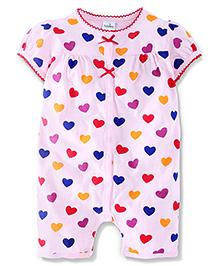 Babyhhug Short Sleeves Romper Heart Print - Light Pink