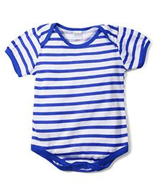 Babyhug Half Sleeves Onesie Stripes Print - White Blue
