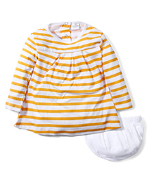 Babyhug Full Sleeves Frock with Bloomer Set Stripes Print - Orange and White