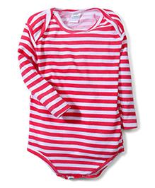 Babyhug Full Sleeves Onesie Stripes Print - White Pink