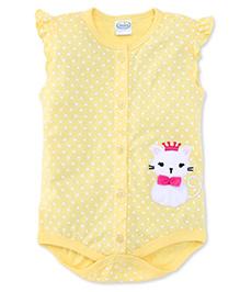 Babyhug Short Sleeves Onesie Cat Embroidery - Light Yellow