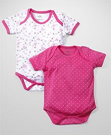 Babyhug Half Sleeves Multi Print Onesies Pink & White - Pack of 2
