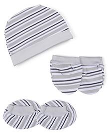 Babyhug Stripe Cap Mittens And Booties Set - Grey