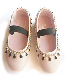 Milonee Glam Soft Party Wear Shoes with Studded Stones - Light Pink