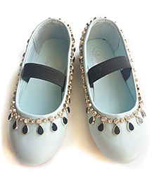 Milonee Glam Partywear Shoes with Studded Stones - Light Blue