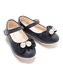 Milonee Sparkling Feet Party Shoes with Bows & Pearls - Navy Blue