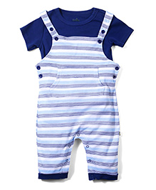 Babyhug Half Sleeves Stripes Dungaree Style Romper With Inner T-Shirt - Blue & White