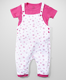Babyhug Half Sleeves Floral Print Dungaree Style Romper With Inner T-Shirt - Pink & White
