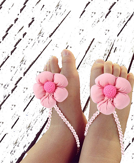 D'Chica  Little Miss Cute Pearl Barefoot Shoes For Baby Girls - Pink